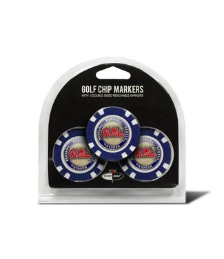 Team Golf OLE MISS REBELS 3 Pack Golf Chip Ball Markers