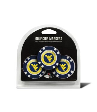 Team Golf WEST VIRGINIA MOUNTAINEERS 3 Pack Golf Chip Ball Markers