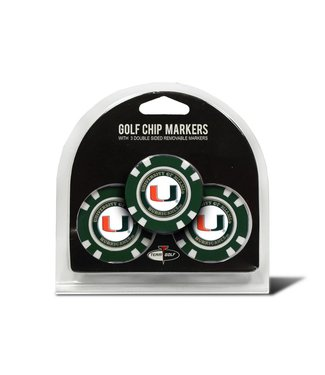 Team Golf MIAMI HURRICANES 3 Pack Golf Chip Ball Markers