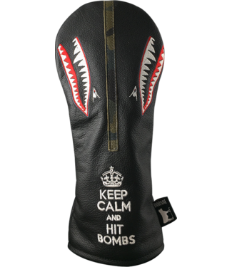 DORMIE WORKSHOP PREMIUM LEATHER DRIVER COVER KEEP CALM AND HIT BOMBS BLACK