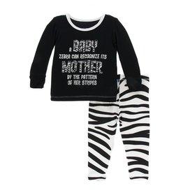 Kickee Pants KicKee Pants Natural Zebra Long Sleeve Pajamas Set