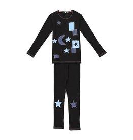 Noggi Noggi Stars Pink Thread Ribbed Denim Pajamas