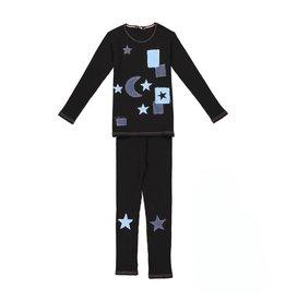 Noggi Noggi Stars Blue Thread Ribbed Denim Pajamas