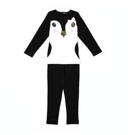 Noggi Noggi Penguin Black Pajamas W/ Pink Bow
