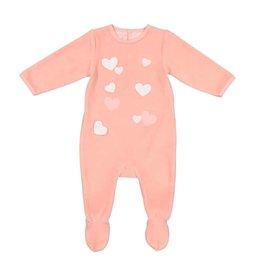 Mon Tresor Mon Tresor Hearts Pink Velvet Footie
