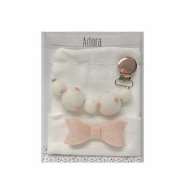Adora Adora Blush Bow Hat and Pacifier Clip Baby Gift Set