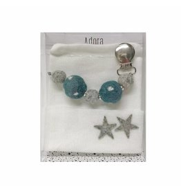 Adora Adora Teal Star Hat And Pacifier Clip Baby Gift Set