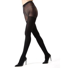 3279d95dc Memoi Memoi Line Luxe Black Opaque Tights - MF7-190