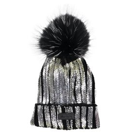 Maniere Maniere Womens Foil Stamped Ribbed Hat