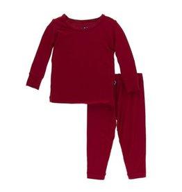 Kickee Pants Kickee Pants Candy Apple Solid Long Sleeve Pajamas Set