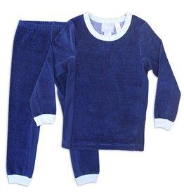 Coccoli Coccoli Ribbed Navy Velour Pajamas