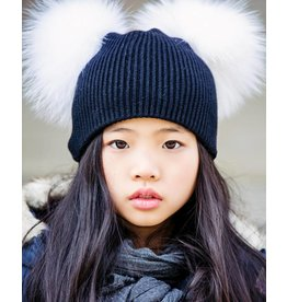 Maniere Maniere Girl's Double Raccoon Fur Pom Hat