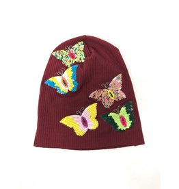 becca + bella Becca and Bella Beanie w/ Multicolor  Butterfly Motifs Burgundy