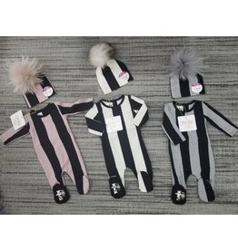 Maniere Maniere Striped Cotton Footie And Hat Set