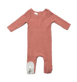 Maniere Maniere Fine Cotton Ribbed Blush Footie