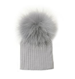 Maniere Maniere Fine Cotton Ribbed Hat W/ Pom