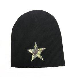 So Nikki So Nikki Camo Star Ribbed Black Hat