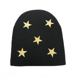 So Nikki So Nikki Stars Black Ribbed Hat