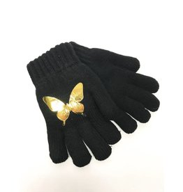 DaCee Dacee Black Knit with Foil Butterfly Gloves