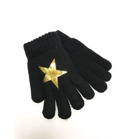 DaCee Dacee Black Knit with Foil Star Gloves