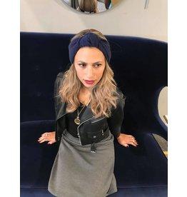 becca + bella becca and bella Lurex Knit Street Knot Turban (Blue)