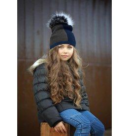 Maniere Maniere Color Block Knit Fur Hat