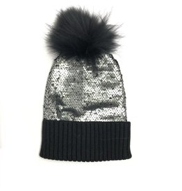 Bari Lynn Bari Lynn Reversible Sequin Fur Hat