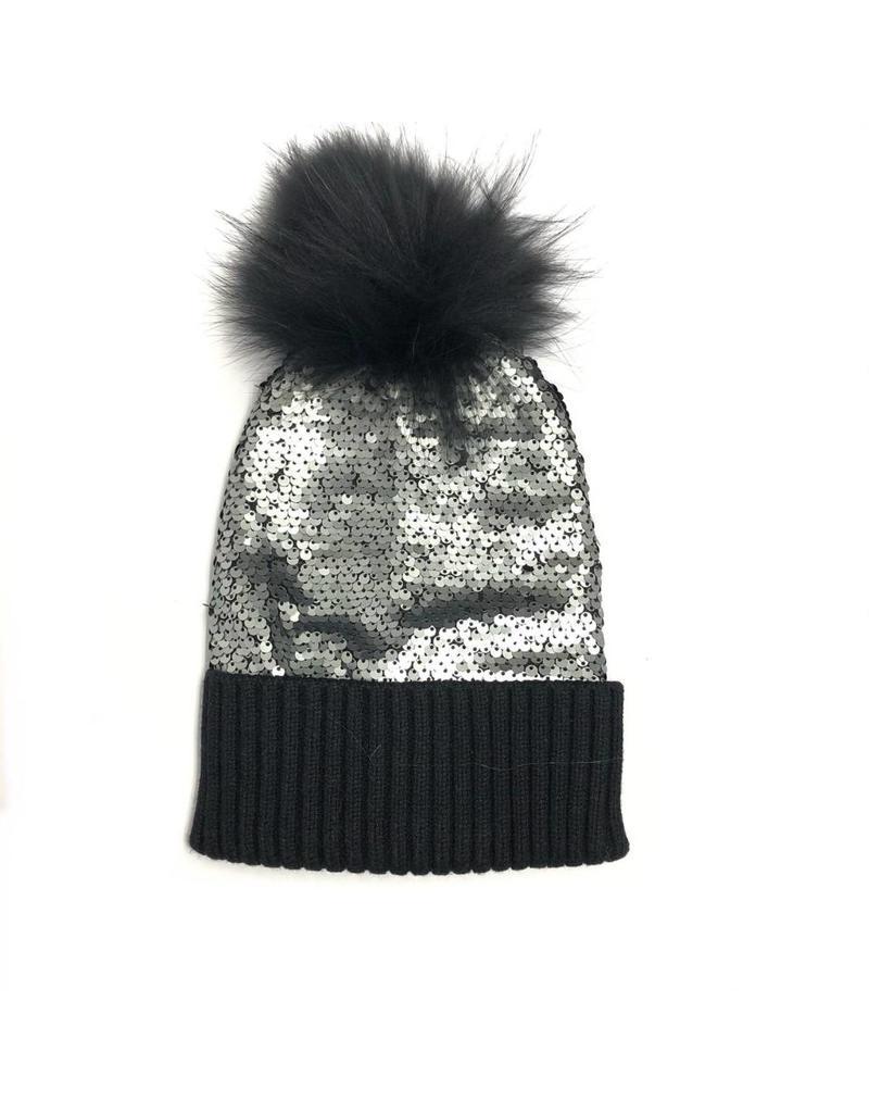 Bari Lynn Bari Lynn Reversible Sequin Fur Hat