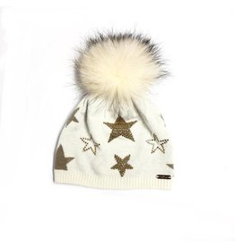 Bari Lynn Bari Lynn Crystallized Star Winter Hats with Tipped Fur