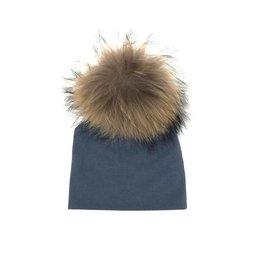 Maniere Maniere Large Pom Midnight Blue Baby Hat