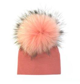 Maniere Maniere Large Pom Salmon Baby Hat