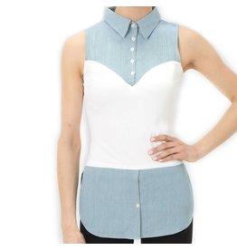 Skinny Shirt Skinny Shirt Chambray Sleeveless w Tails - COLTAIL100