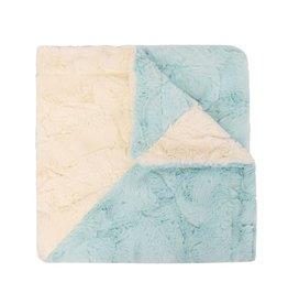 Winx + Blinx Winx + Blinx White/Aqua Diagonal Minky Blanket
