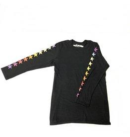 So Nikki So Nikki Juniors 3/4 Sleeve Tee with Rainbow Stars on Sleeve