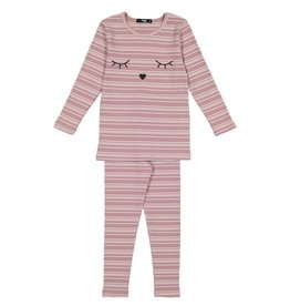 Noggi Noggi Embroiderd Sleepy Eyes Stripped Ribbed Loungewear Set