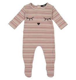 Noggi Noggi Embroidered Sleep Eyes Ribbed Baby Footie