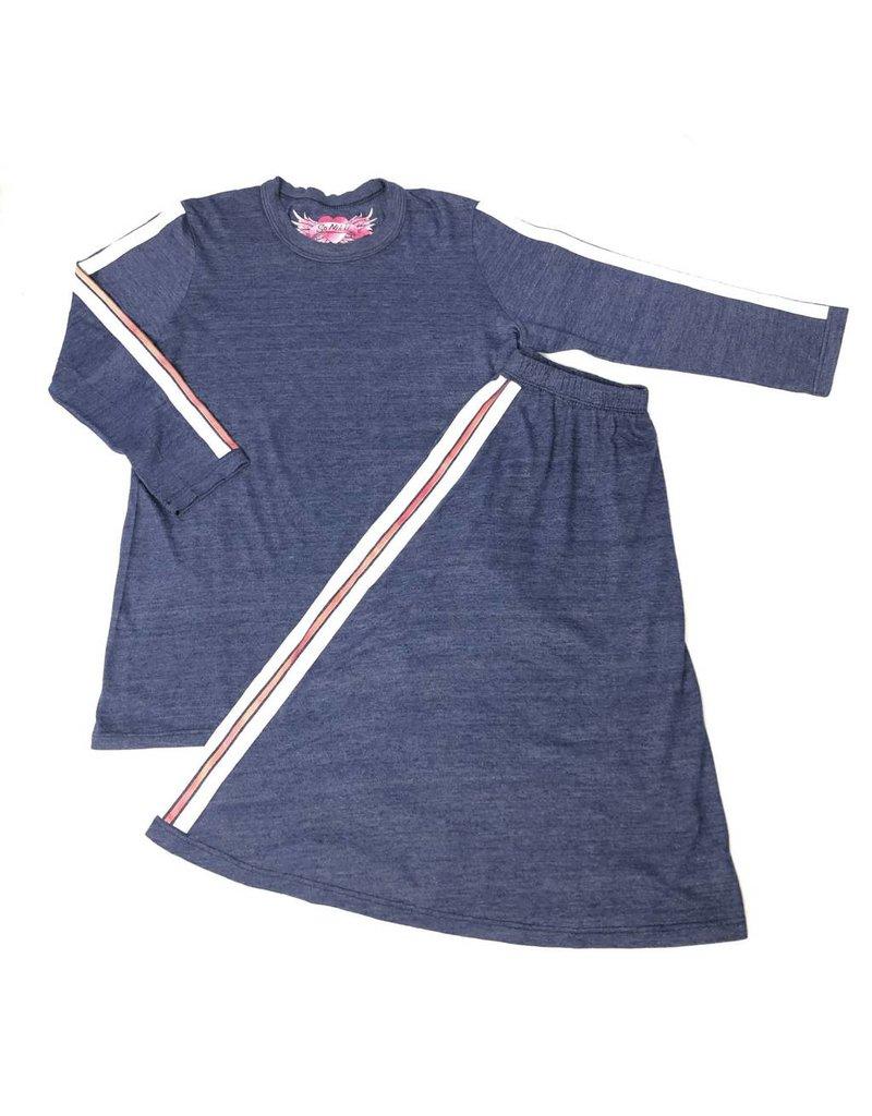 So Nikki So Nikki Kids Red & White Stripe on Sleeve  3/4 Sleeve Tee Navy