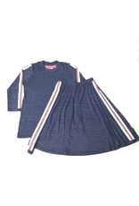 So Nikki Kids Red & White Stripe Vintage Skirt Navy