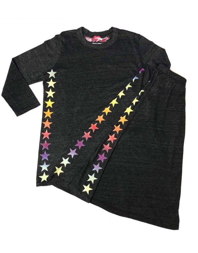 So Nikki So Nikki Kids Rainbow Stars on side 3/4 Sleeve tee Charcoal