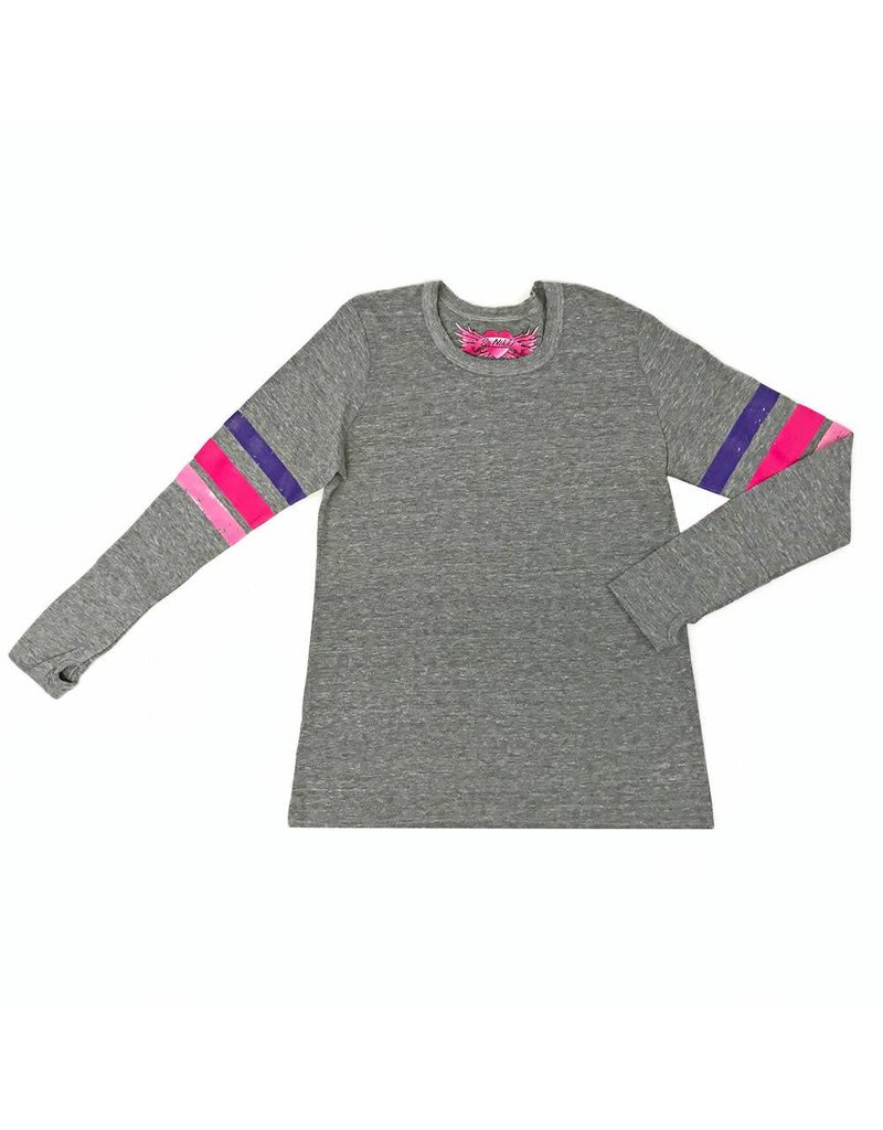 So Nikki So Nikki Pink/Purple Stripes On Sleeves Shirt W/ Thumb Holes