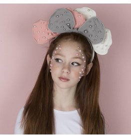 DaCee Dacee Scattered Pearls Bow Headband