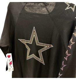 So Nikki So Nikki Juniors Black Vintage Dress with Rainbow Stars on Sleeve