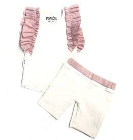 Maniere Maniere Ruffle sleeve 2pc set Ivory/Pink