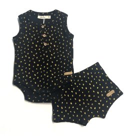 Fragile! Fragile Baby Onesie and Shorts with Gold Dots Set