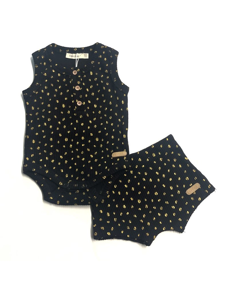 541d0cfe6 Fragile Baby Onesie and Shorts with Gold Dots Set - Tiptoe Boutique