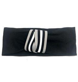 becca + bella Becca + Bella Double Knot Elastic Stripe Turban Black