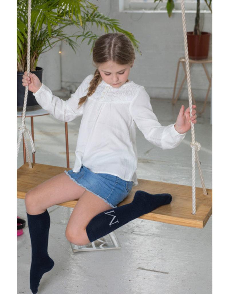 Blinq Blinq Initial Knee High Socks Denim