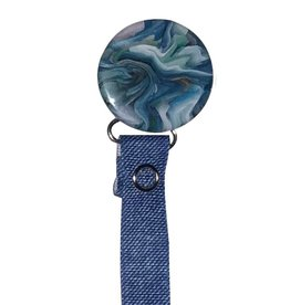 Classy Paci Classy Paci Blue Green Marble Pacifier Clip