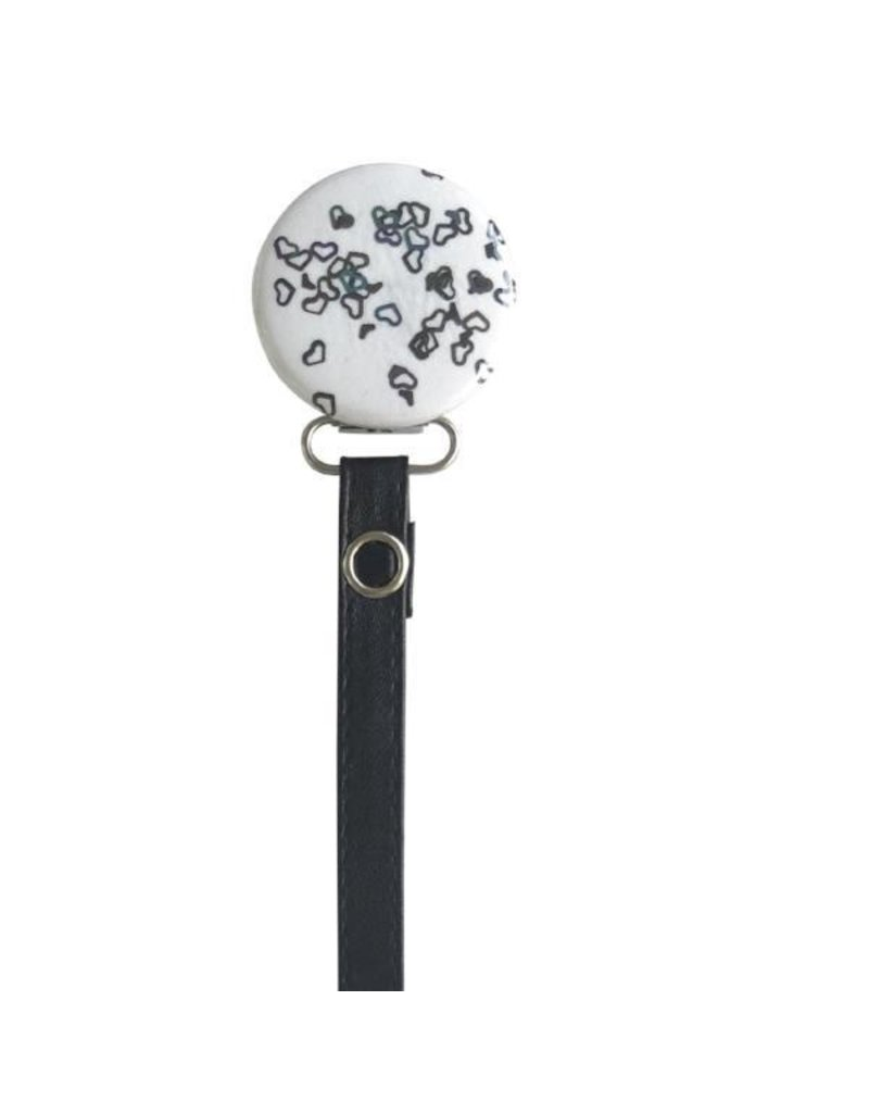 Classy Paci Classy Paci Black Outline Hearts Pacifier Clip