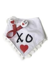 Classy Paci Classy Paci Black W/Red Hearts White Bib & Matching Pacifier Gift Set